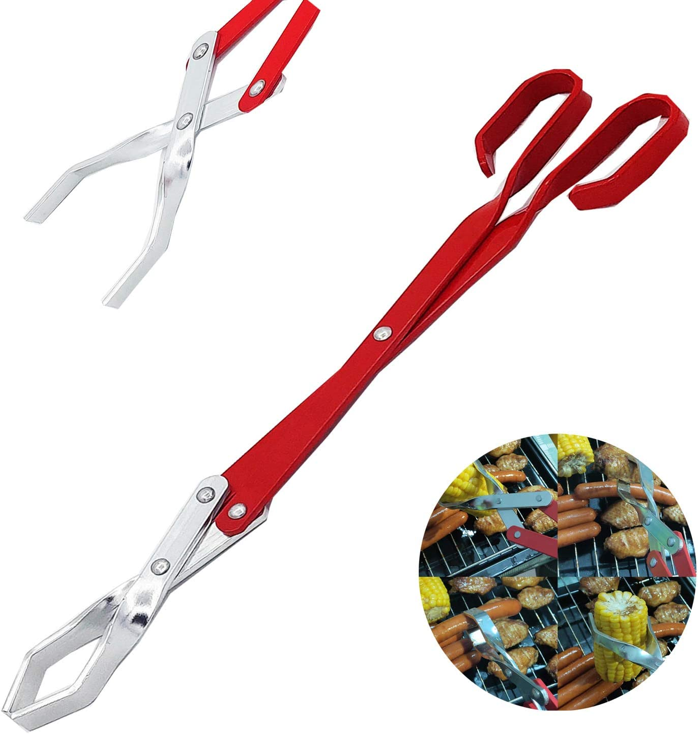 Grill Tongs-Heavy Duty BBQ Grilling Tongs for Cooking & Serving Food -Long Aluminum alloy Tongs for Kitchen & Barbecue-16.7 inch-Red