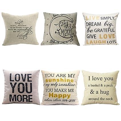 Amazon WUWE Cotton Linen Square Vintage Throw Pillow Case Shell Unique How To Make A Decorative Pillow Case