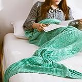 人魚毛布お昼寝毛布人魚姫に変身冷房対策にも最適ブランケット ケット着る毛布柔らかい 防寒 180*80CM (緑)