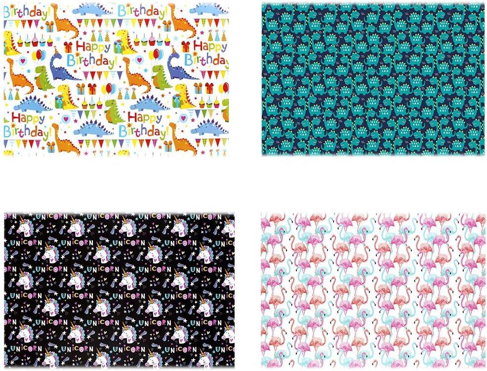 Naisidier 4Pcs Geschenkpapier Rolle Flamingos//Dinosaurier//Unicorns Entwurf Geschenk Dekorieren Verpackungspapier f/ür Geburtstag Muttertag Valentinstag Hochzeit Baby Shower Geschenk-Verpackung