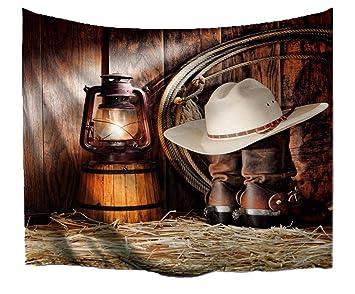 Amazon.com  A.Monamour Vintage Horse Stable Lights Cowboy Hats Boots ... 255438aad36b