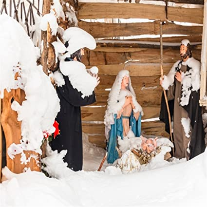 LFEEY 6x6ft Bethlehem Bible Christmas Manger Scene Backdrop for Events  Videos Snowy Crib Holy Family Joseph Maria Catholic Nativity Photography