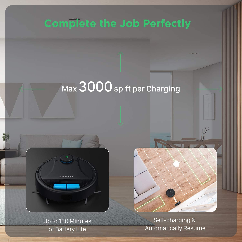 Robot aspirador con mopa, 2200 Pa Super Suction aspiradora robótica eléctrica SLAM limpieza para pelo de mascotas, control de aplicaciones y navegación láser inteligente y mapa preciso y 180 min tiempo de