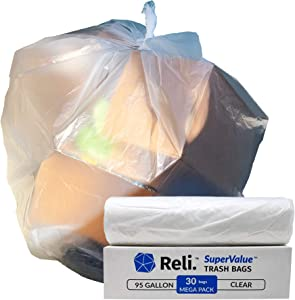 Reli. SuperValue 95 Gallon Trash Bags (30 Count) Clear Large 95 Gallon Trash Bags Heavy Duty, 90 Gal - 95 Gal - 96 Gallon Garbage Bag Capacity for Toter
