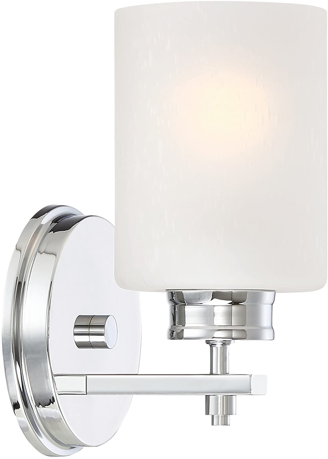"""Kira Home Phoebe 8"""" Modern 1-Light Wall Sconce/Vanity Light + Frosted Seeded Glass Shade, Chrome Finish"""