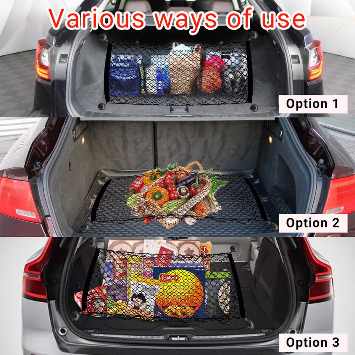 Luoistu Car Cargo Net 50 x 130CM Double Nylon Rear Car Cargo Organizer Net with 4 Hook for SUV Black Trunk Stretchable Elastic Trunk Storage Net Pickup,Truck Bed
