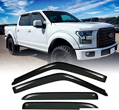 Amazon Com Mgpro 4pcs For 15 20 F150 Crew Supercrew Cab 15 20 F250 F350 Super Duty Crew Supercrew Cab Sun Rain Guard Vent Shade Side Window Wind Deflectors Window Visors Automotive