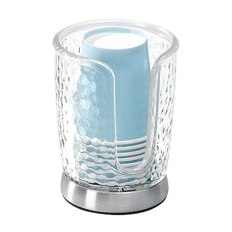 mDesign Dispensador de vasos – Soporte para vasos fabricado en plástico con detalles en acero inoxidable