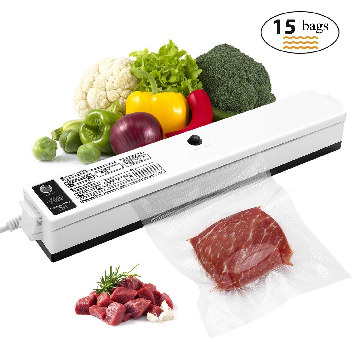 Vacuum Sealer, Etrigger Automatic Vacuum Sealing Machine for Both Dried and Wet Fresh Food, Suitable for Camping and Home Use(Provide 15pcs Vacuum Sealer Bags of 20 × 25cm) 71e39AUmvaL