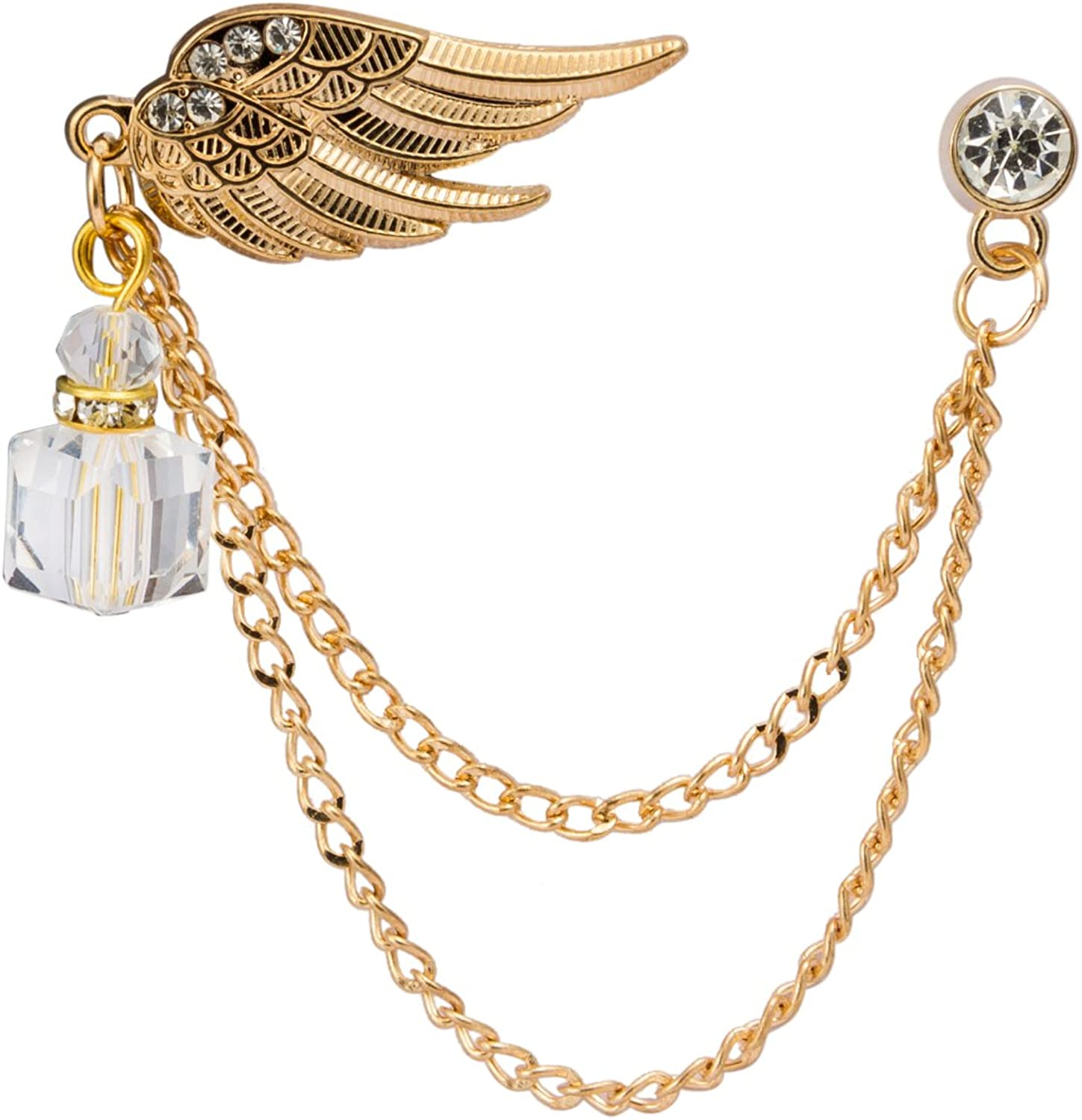 Knighthood Power Wing with Hanging Stone Collar Pin Golden Lapel Pin Badge Coat Suit Jacket Wedding Gift Party Shirt Collar Accessories Brooch for Men