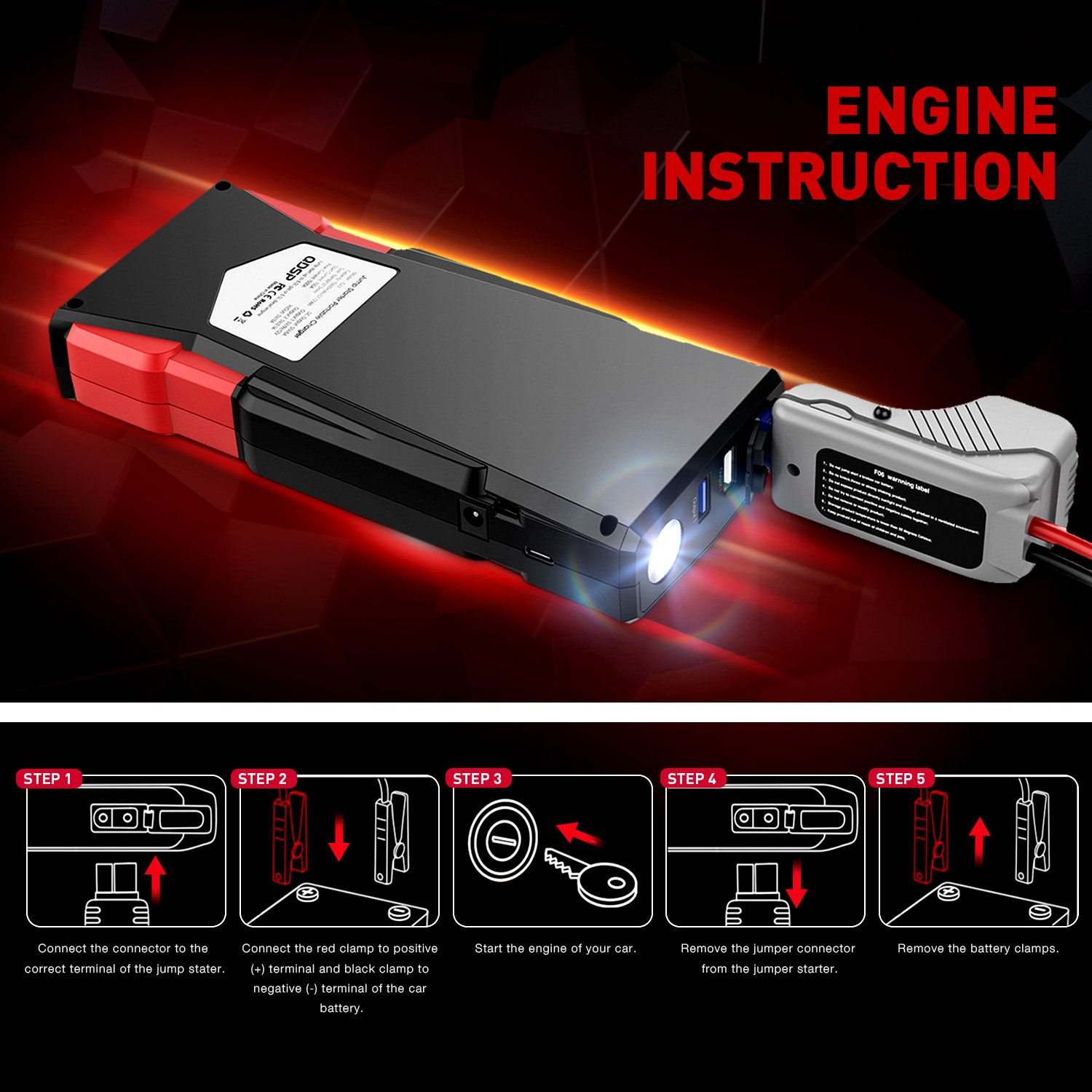 Car Jump Starter, Oittm 1500A Peak Current 15600mAh Car Battery Booster(Up to 8.0L Gas and 6.5L Diesel Engine) Power Bank Portable Charger w/ USB Charge+Quick Charge 3.0+Type-C+12V DC Output+LED Light by Oittm (Image #5)