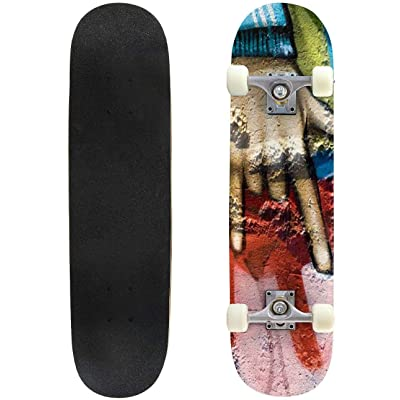 "Graffiti Youth Graffiti s and Pictures Outdoor Skateboard 31""x8"" Pro Complete Skate Board Cruiser 8 Layers Double Kick Concave Deck Maple Longboards for Youths Sports : Sports & Outdoors"