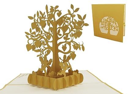 Lin 3d Pop Up Karten Karte Goldene Hochzeit Hochzeitsjubiläum Zur Goldenen Hochzeit Herzbaum Mit Amor 85