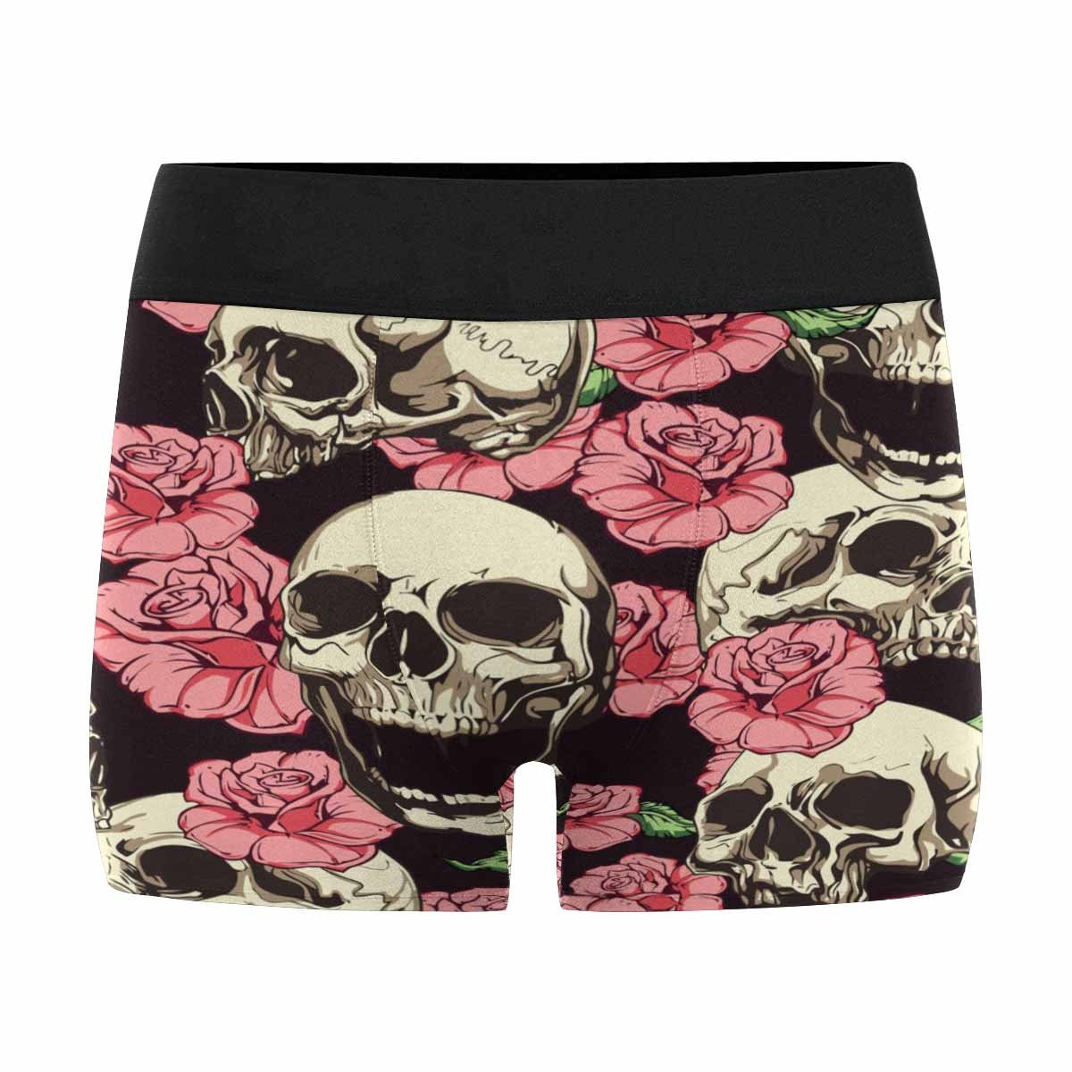 INTERESTPRINT Custom Mens Boxer Briefs Pattern of Skulls and Pinkred Roses on Dark Country House Image XS-3XL