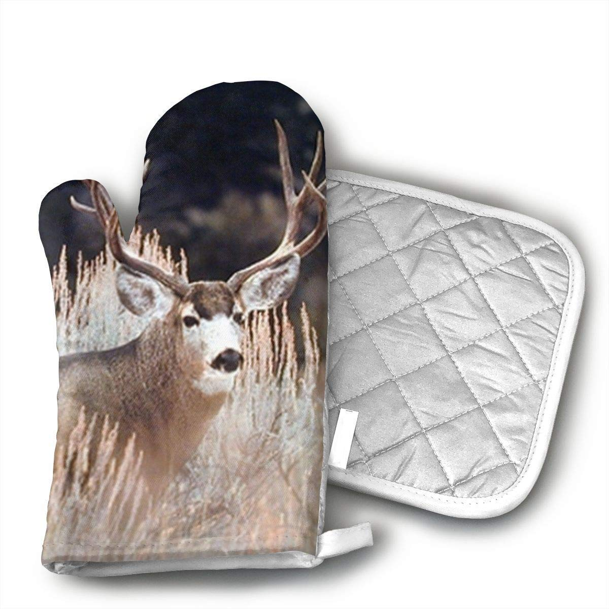 NoveltyGloves Large Mule Deer Big Antler Rack Animal Oven Mitts,Professional Heat Resistant Microwave BBQ Oven Insulation Thickening Cotton Gloves Baking Pot Mitts Soft Inner Lining Kitchen Cooking