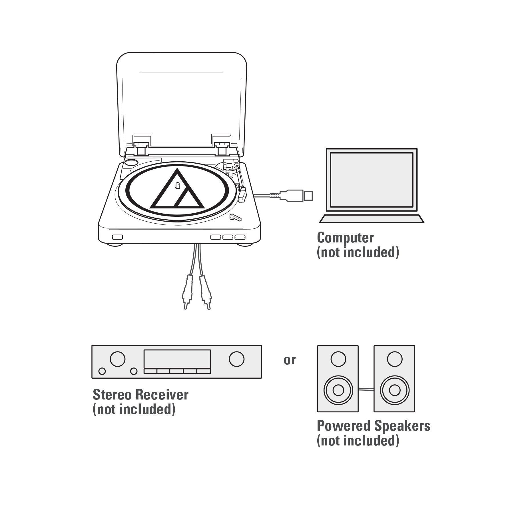 Audio Technica AT-LP60BK-USB Fully Automatic Belt-Drive Stereo Turntable (USB & Analog), Black by Audio-Technica