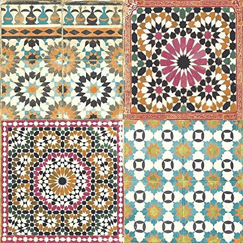 Grandeco Botanical Moroccan Tile Pattern Wallpaper Retro Floral Textured Motif (Orange Pink BA2504)