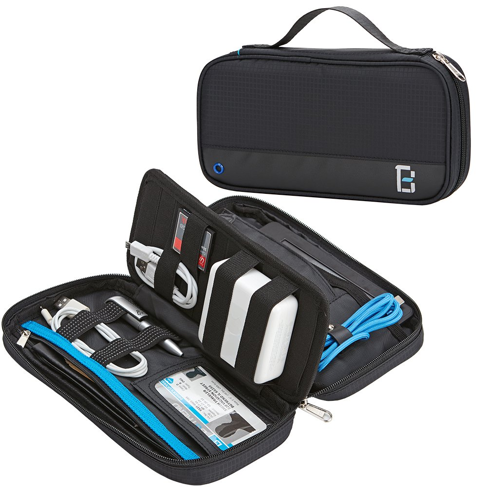 BGTREND Cable Bag Electronic Accessories Travel Organizer Pouch Water Resistant for Kindle Paper White Pens Cords Passport, Black