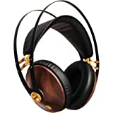Meze 99 Classics Walnut Gold | Wired Over-Ear Headphones with Mic and Self Adjustable Headband | Classic Wooden Closed-Back H