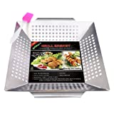 Golden V Stainless Steel Grill Basket for Vegetable Fish Shrimp Chicken with Silicone BBQ Brushes