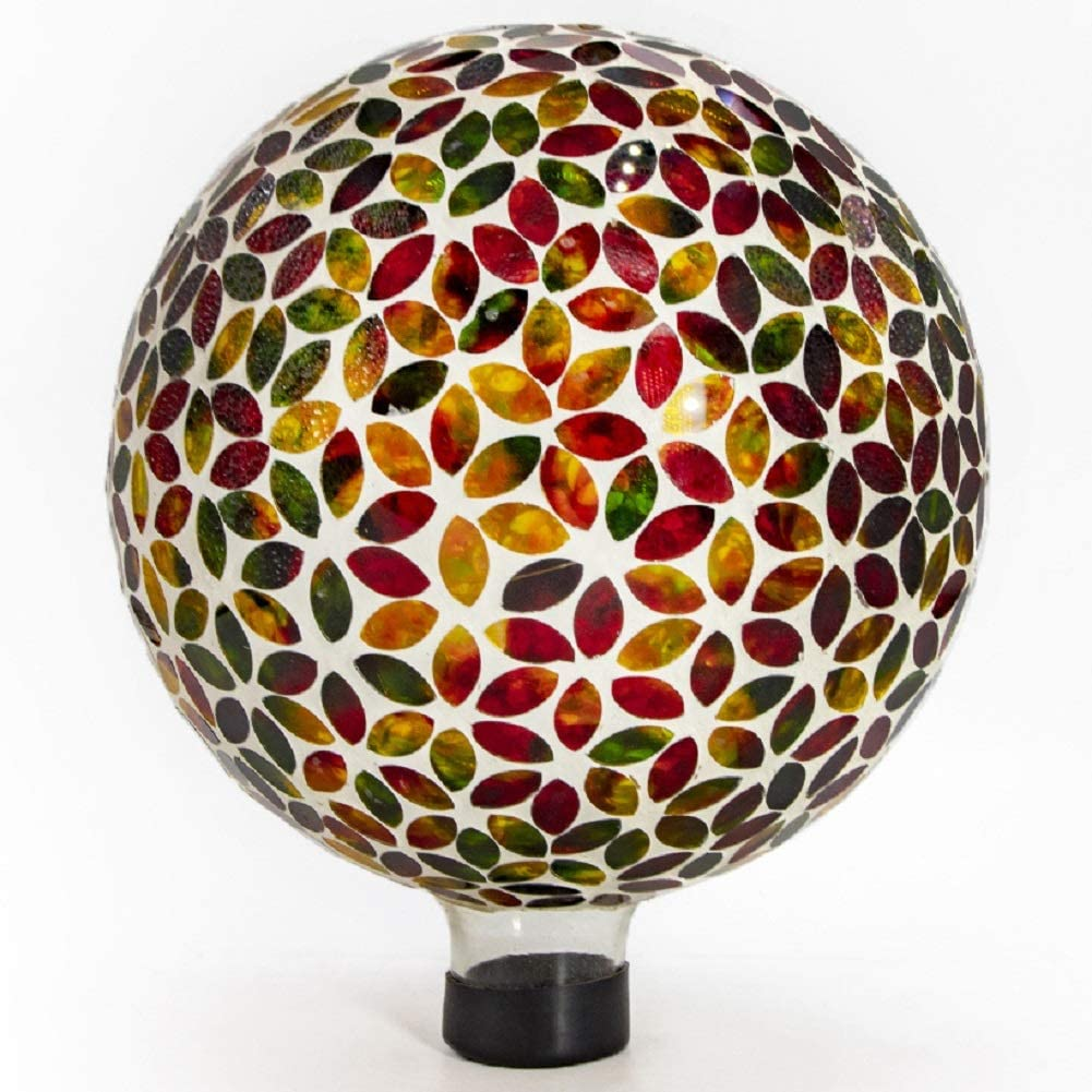 Ferrisland Garden Glass Gazing Ball Leaf n Petal Mosaic Mirrored Reflect Globe Home Decor Colorful Ornament 10""