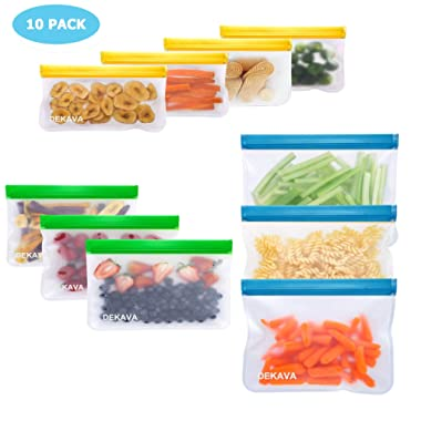 Reusable Storage Bags - 10 Pack BPA-FREE PEVA Leakproof Freezer Bags - 6 Reusable Sandwich Bags & 4 Reusable Snack Bags - Extra Thick Reusable Ziplock Lunch Bag for Travel Food Storage Home Organizati