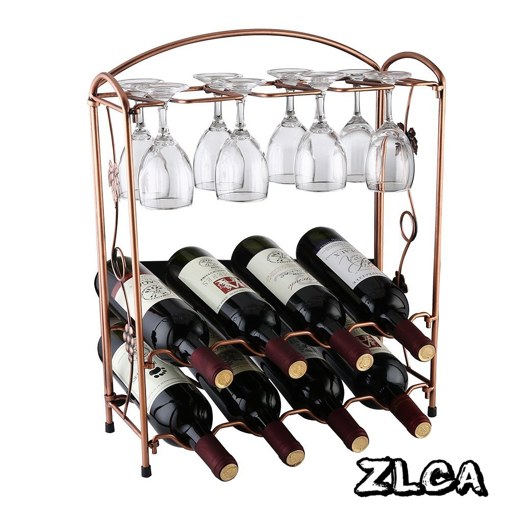 ZLCA Elegant Countertop Stainless Steel Tabletop Wine Glass Drying Folding Rack Stand Hold 4 Wine Glass and 8 Bottles of Wine
