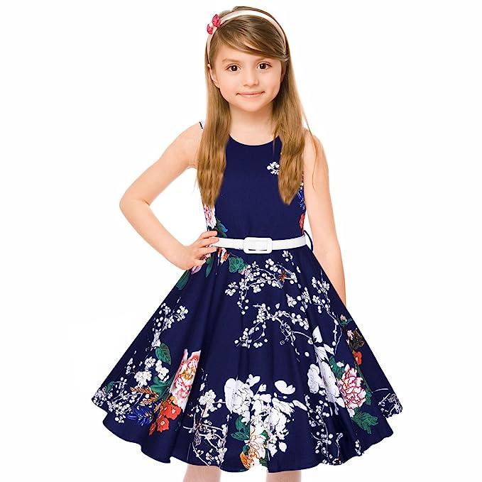 f53a4d284 HBBMagic 1950 Vintage vestido de niña cuello redondo sin mangas de algodón  Floral Vestidos con cinturón de fiesta