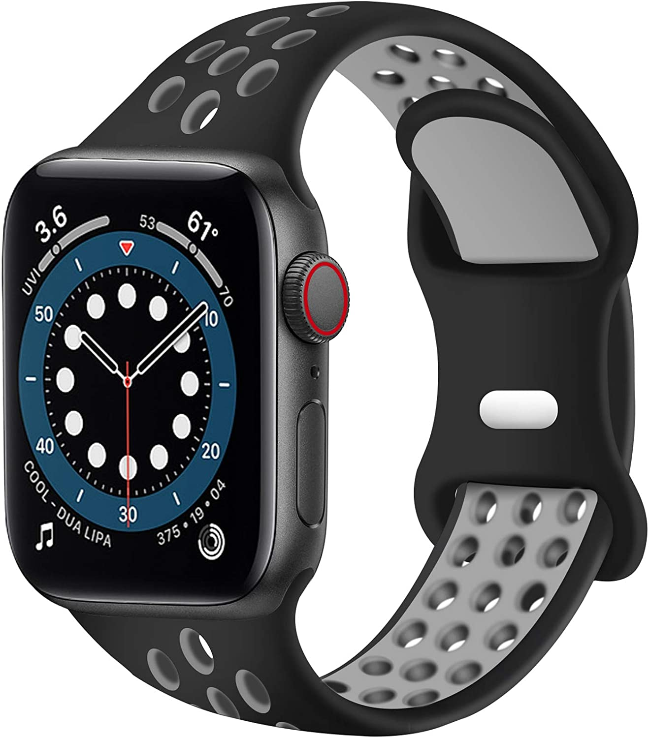 SVISVIPA Sport Bands Compatible for Apple Watch Bands 42mm 44mm,Breathable Soft Silicone Sport Women Men Replacement Strap Compatible with iWatch Series SE/6/5/4/3/2/1,Black Gray