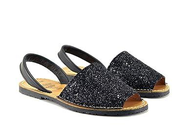 CONBUENPIE 275, Damen Menorquinische Abarca-Sandalen , Schwarz - schwarz - Größe: EU35