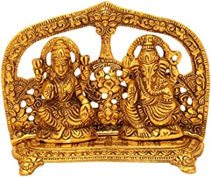 GoldGiftIdeas Oxidized Gold Plated Sitting Laxmi Ganesha Idol for Gift, Lakshmi Ganesh Statue for Home Decor, Return Gift for Housewarming and Wedding, Indian Craft Idol