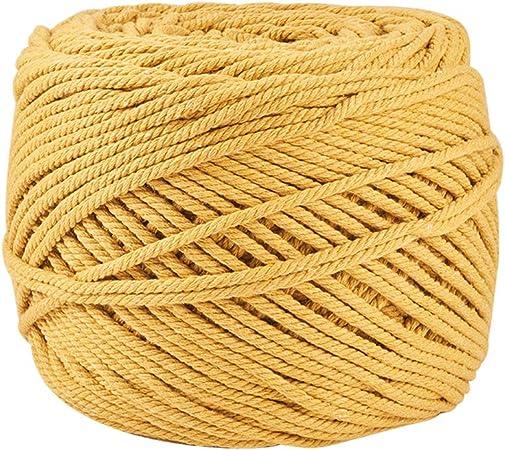 BENECREAT 200m Cuerda Cordel de Algodón Natural 100% Puro Cordón Trenzada de Algodón con 4 Ramales para Manualidad Artesanía Decoración Colgar Fotos - 3mm de Diámetro Dorado: Amazon.es: Hogar