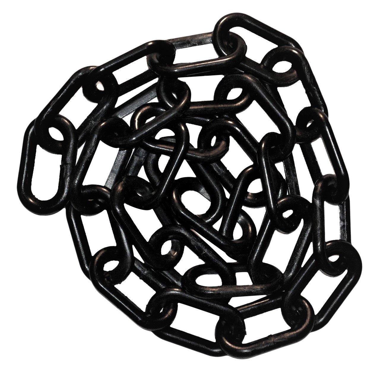 Mr. Chain 50003-25 Plastic Barrier Chain, High Density Polyethylene with UV Inhibitors, 2'' Link x  25', Black