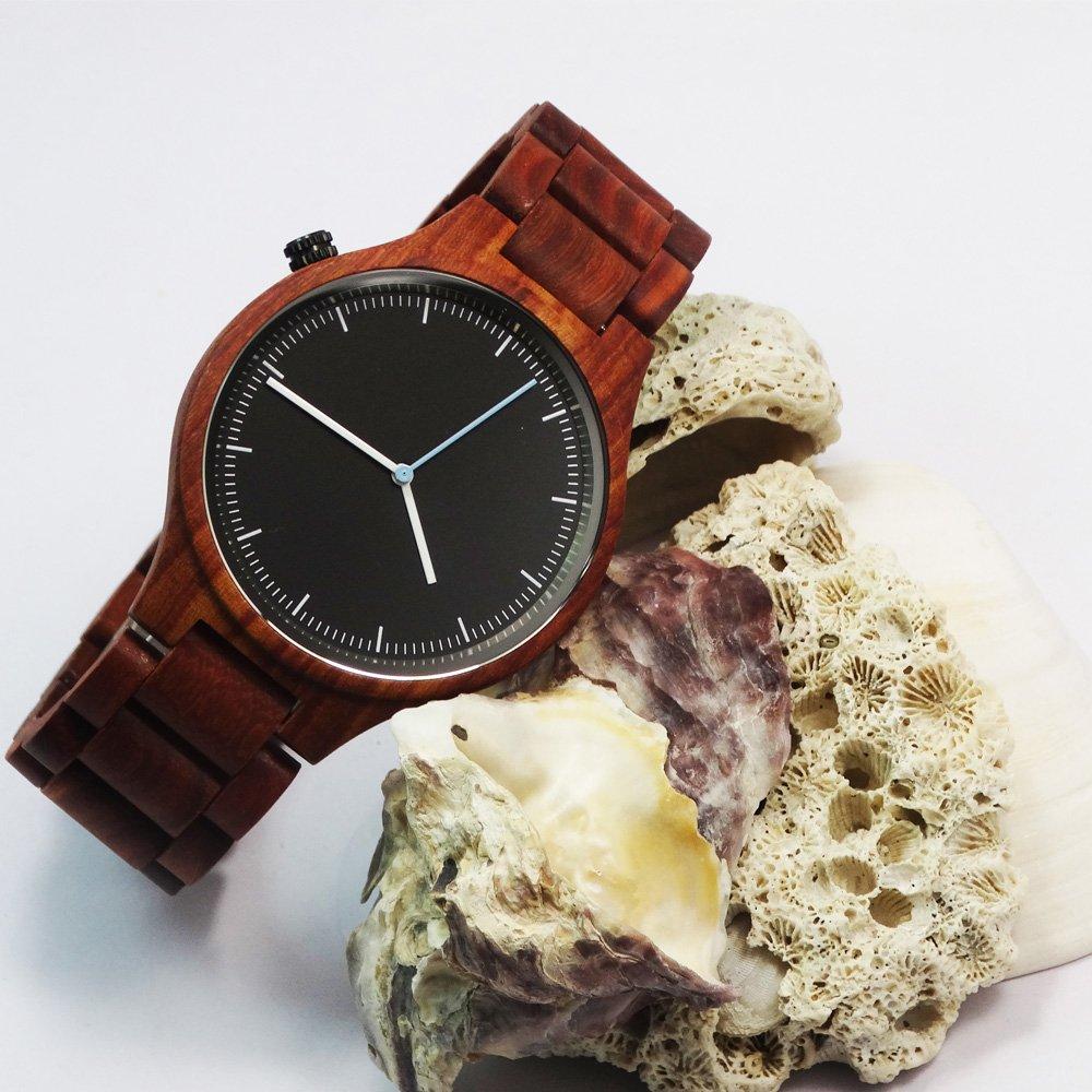 Mens Wood Watch Natural Handmade Lightweight Vintage Wooden Watch Men Quartz Wrist Watch-Red