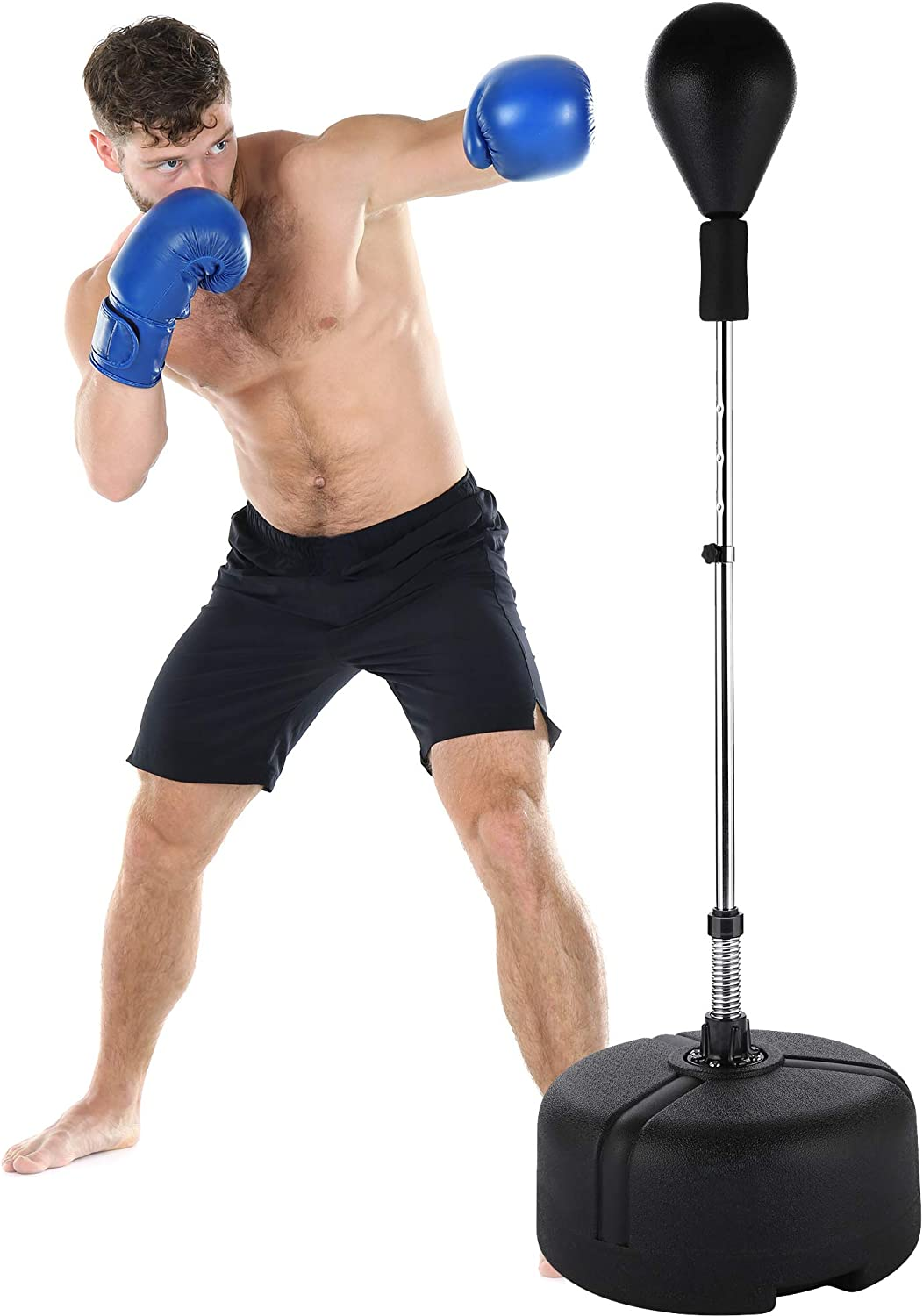 Perfect for Stress Relief//Fitness//Punch Training at Home PEXMOR Reflex Bag Height Adjustable for Adults /& Teens Speed Boxing Ball Freestanding Punching Bag with Stand Easy Assembly /& Durable