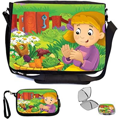 Rikki Knight Cute Girl Cartoon with Farm Vegetables Design COMBO Multifunction Messenger Laptop Bag - with padded insert for School or Work - includes Wristlet & Mirror