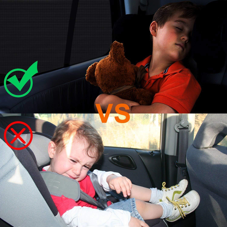 ZOORE 2 St/ück Auto Sonnenschutz//Sonnenblenden f/ür Baby mit UV Schutz Anti Moskito Ohne Saugnapf Tragbare Auto Sonnenblende Schwarz. Geeignet Meisten Autos und SUVs
