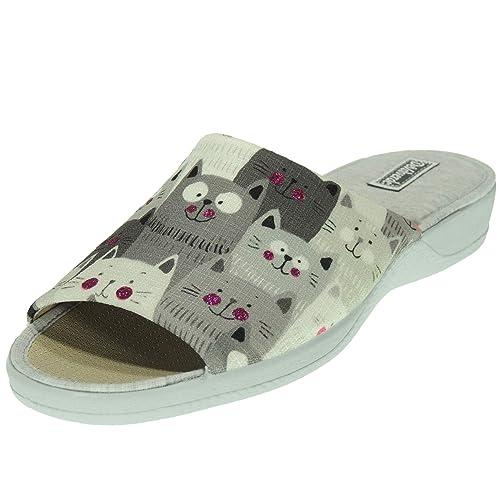 DEVALVERDE 158 Zapatilla Chinela Pinki Casa Mujer Gatos Tratamiento Antibacteriano Lavable Piso Goma Antideslizante: Amazon.es: Zapatos y complementos