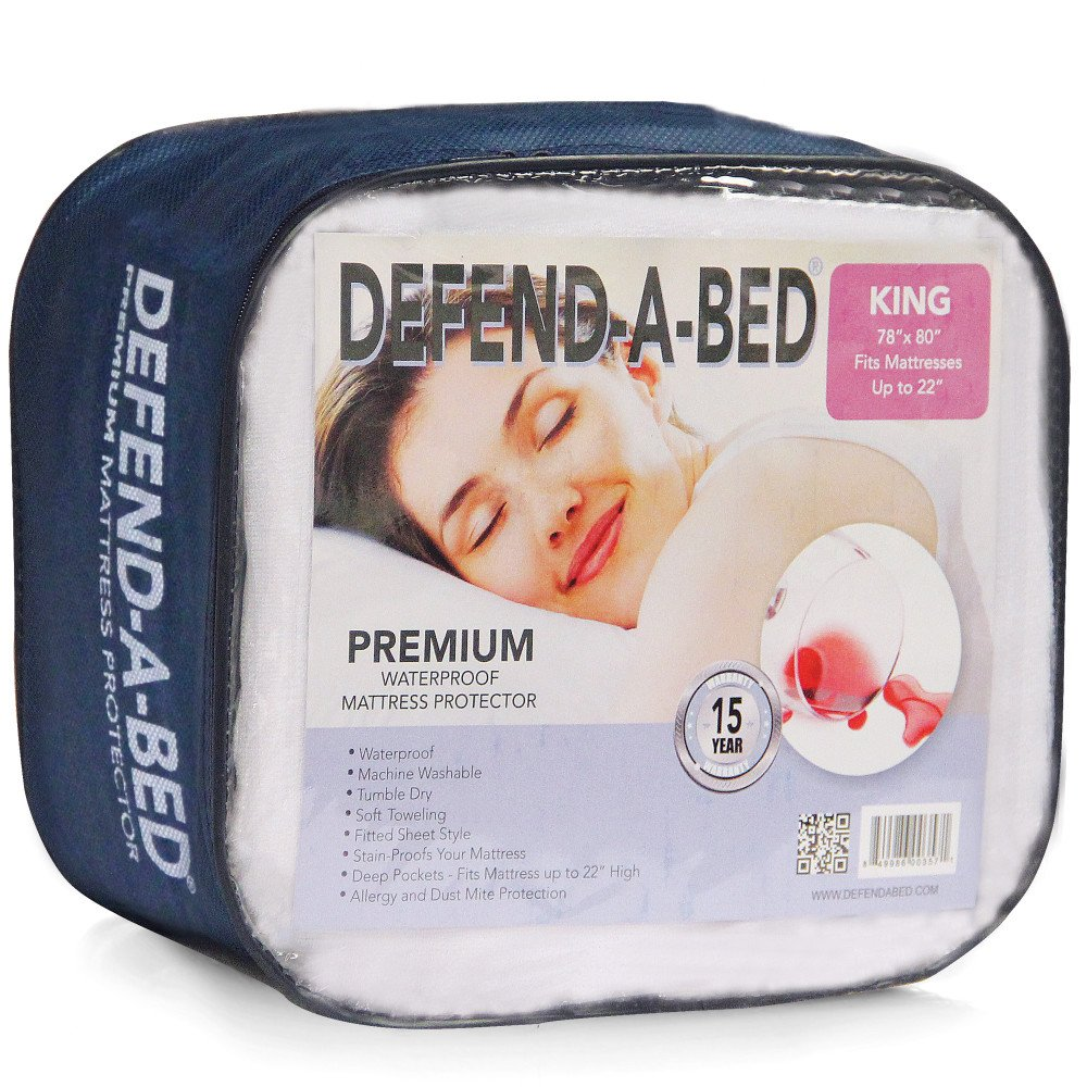 Classic Brands Defend-A-Bed Premium Fitted Waterproof Mattress Pad Washable, California King