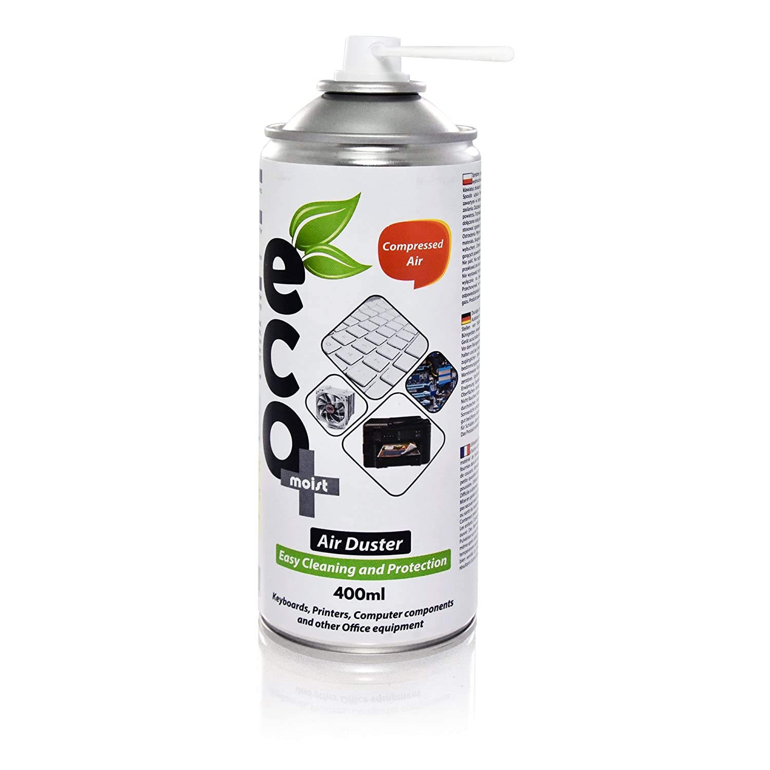 Air Duster Ecomoist (400ml) x2, Excellent for Keyboards, Printers, Computer Components and Other Office Equipment, Laptop Cleaner, PC Cleaning Kit (Pack Set of 2) TwinPol