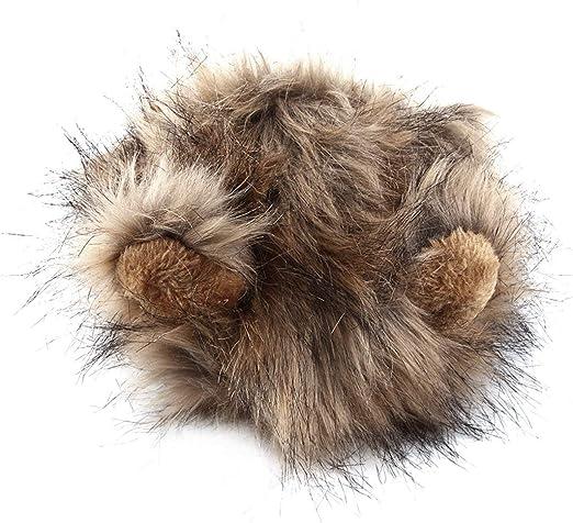 BIYI Disfraz de Mascota Lindo Divertido Cosplay Peluca de Melena de león Sombrero para Gato Ropa de Navidad de Halloween Disfraz con Orejas Otoño Invierno (marrón y Negro): Amazon.es: Hogar