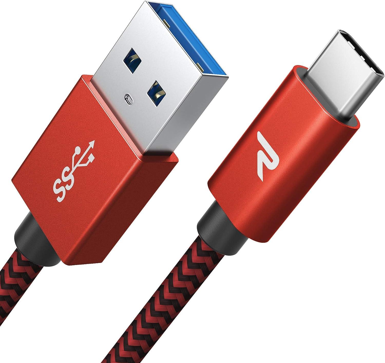 RAMPOW Cable Tipo C USB 3.0 Cable USB Tipo C a USB 3.1 Gen 1 Cargador Rápido Nylon Trenzado-[Garantía de por Vida]-Compatible con Samsung S8/S9+/Note 8, LG G6/G5, ChromeBook Pixel-1M, Rojo