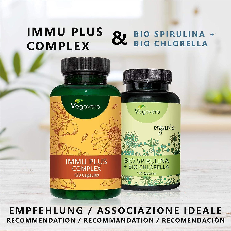 Immu Plus Complex: Vitamina C + Vitamina D3 + Jengibre + Equinácea + Selenio + Zinc | Defensas + Resfriado + Gripe + Inmunizante | 120 Cápsulas | Testado en ...