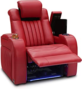 Seatcraft Mantra Home Theater Seating - Power Recline Chair - Leather - Adjustable Headrest and Lumbar Support - Cup Holders - USB Charging - Storage - SoundShaker - Ambient Lighting (Single, Red)