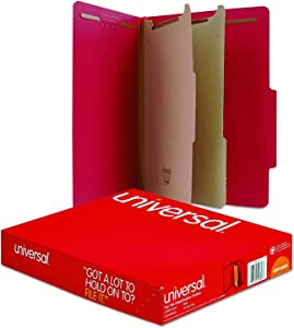 Universal - Pressboard Classification Folders, Letter, 6-Section, Ruby Red, 10/bx, 10 Pack