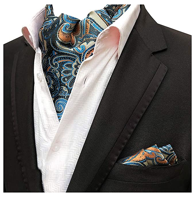 1b774a4c1553 MOHSLEE Men's Aqua Blue Floral Flowers Ascot Woven Cravat Ties Pocket  Square Set