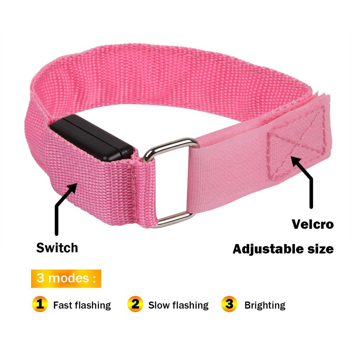 Night Safety Lights for Running Fashion/&cool LED Slap Band Jogging Cycling USB Rechargeable Light Up Sport Armband Glow in The Dark Adjustable Bracelets for Men/&Women Hiking