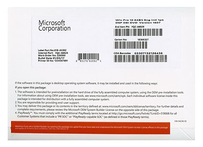 Microsoft Windows 10 Pro 32/64 Bits Clave Licencia 100% Genuina WIN 10, Multilenguaje