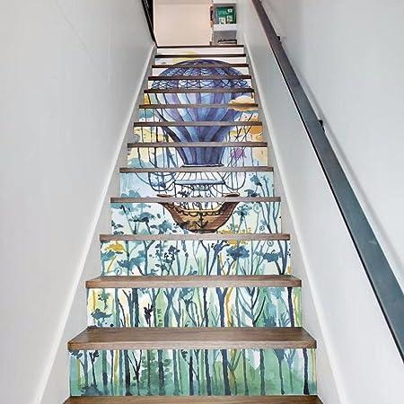 Frolahouse - Pegatinas para escalera de aire caliente, diseño de globo de acuarela, 3D, renovación, papel pintado, autoadhesivo, extraíble, impermeable, pegatinas para escaleras, para habitación de los niños, guardería, 13 piezas/set: Amazon.es: