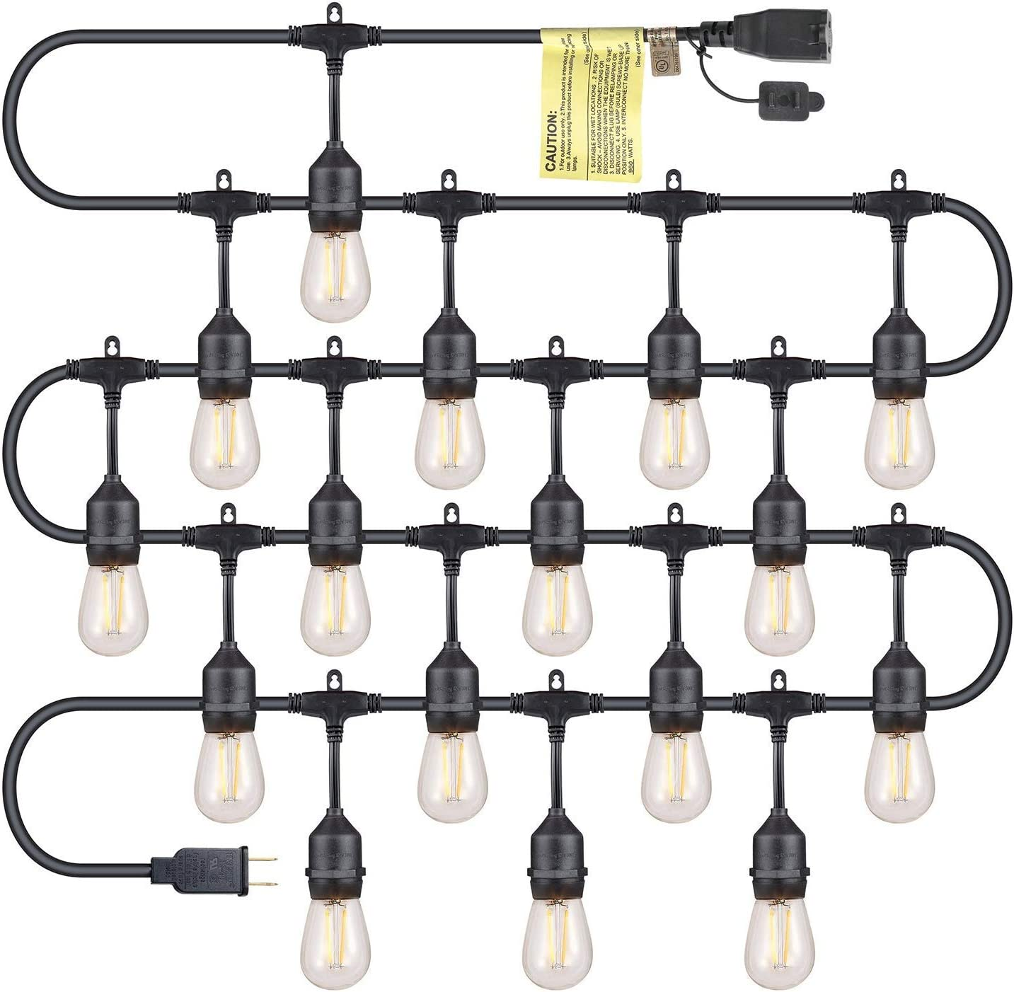 Dependable Direct 50FT Outdoor LED String Lights - 16 of 1.5W Vintage LED Edison Glass Bulbs Included - Waterproof Heavy Duty, Commercial Grade Strand with 16 Hanging Sockets